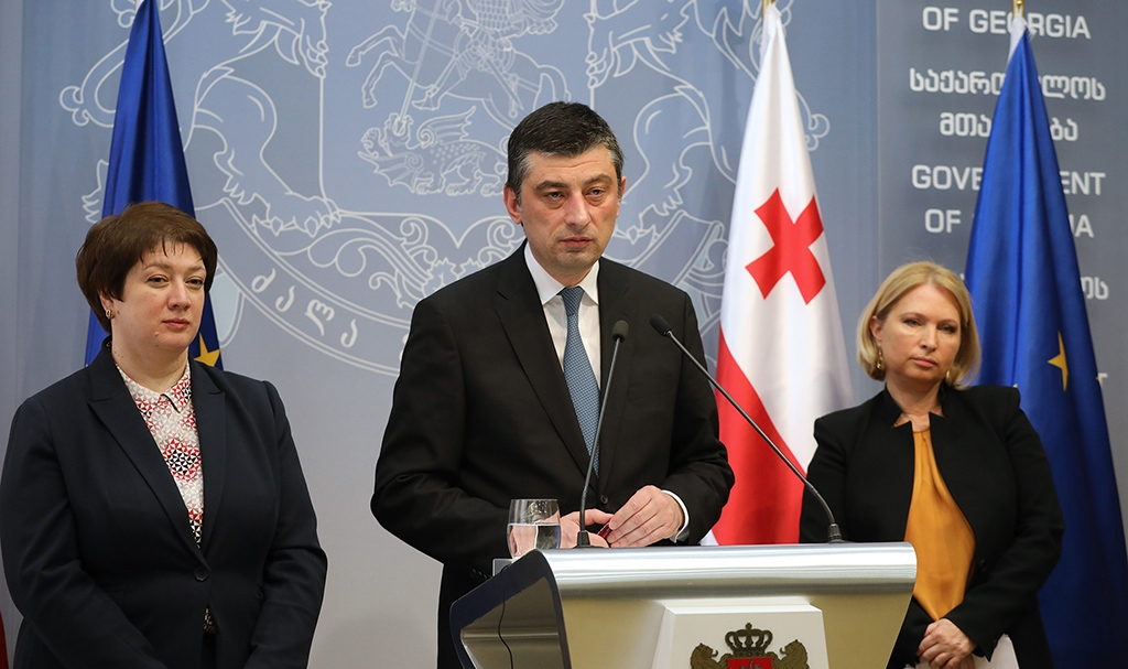 Prime Minister Giorgi Gakharia announcing the package on March 13. (gov.ge)