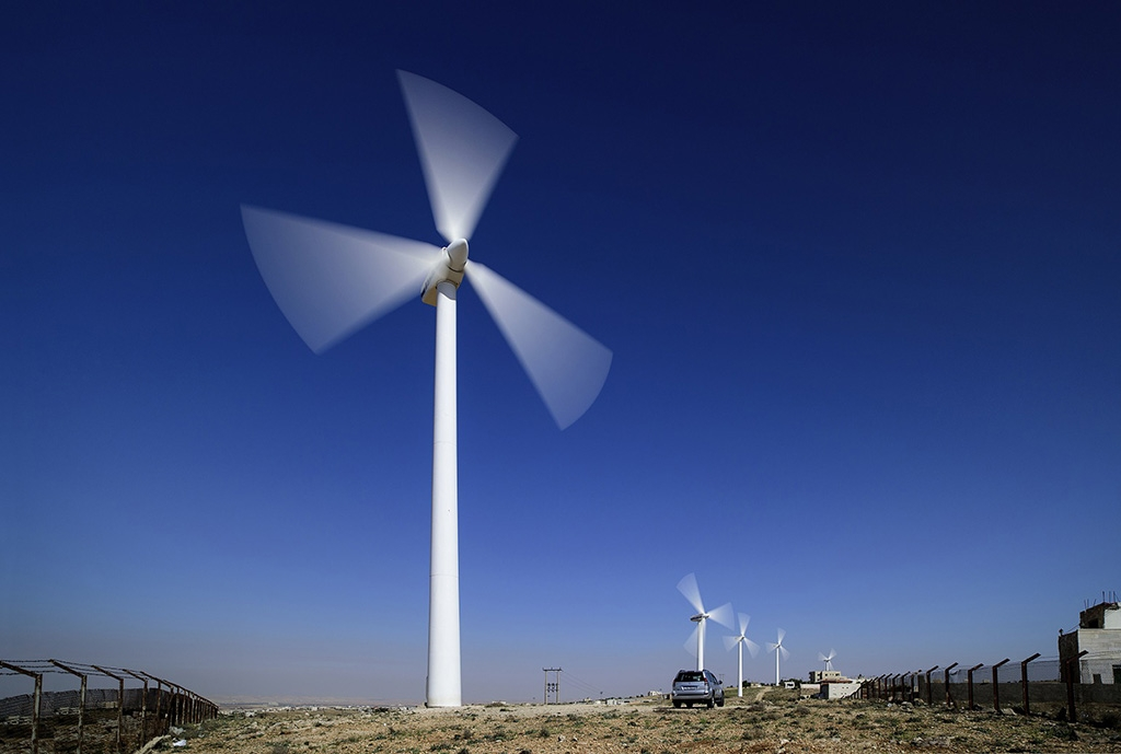 Wind turbines in Jordan built by Saudi Arabia's ACWA, which is constructing a wind farm on Azerbaijan's Caspian coast. (ACWA)