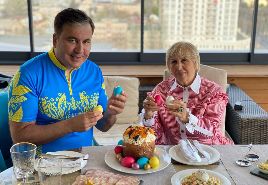Saakashvili and his mother, wearing the colors of Ukraine and Georgia respectively, celebrating Orthodox Easter last weekend. (Facebook)