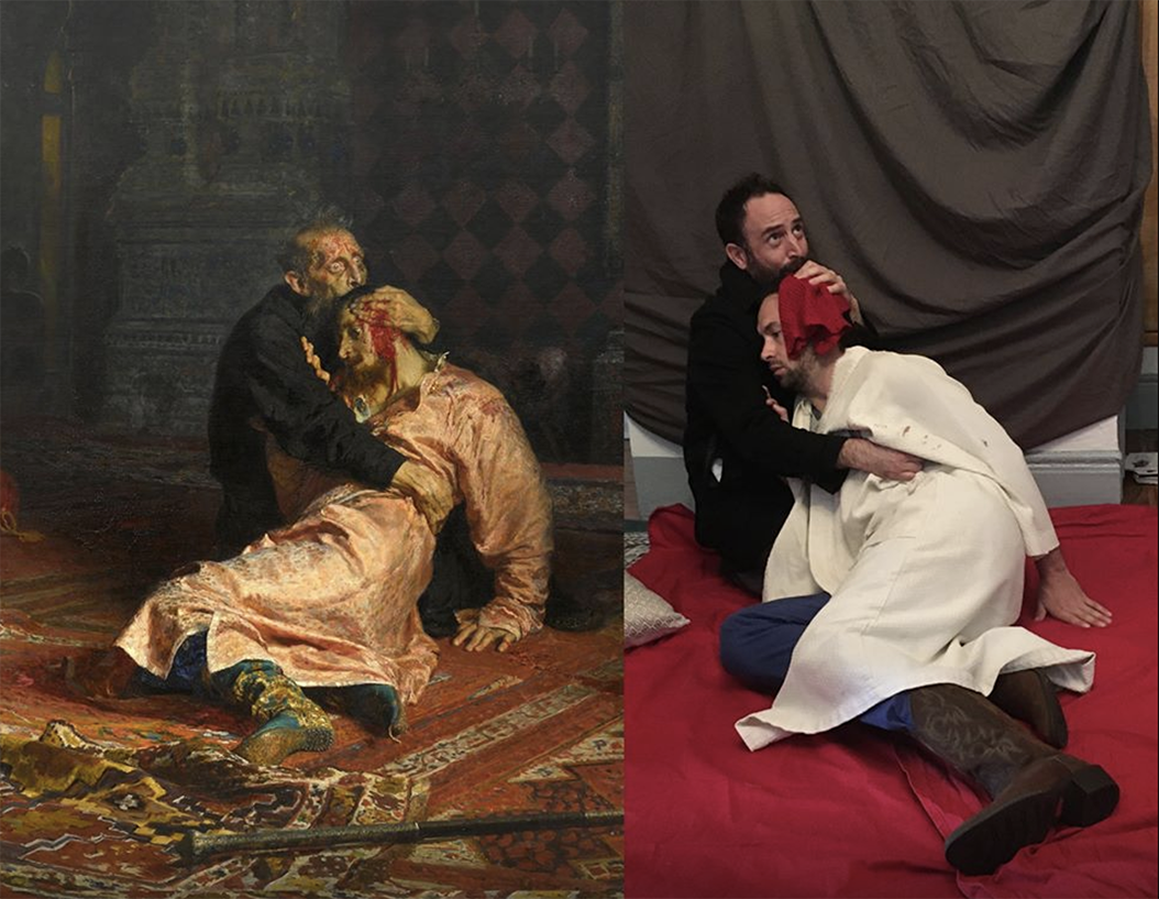 From Изоизоляция (Art-Isolation), a Facebook group where Russians reenact famous pieces of art. (Left: Ivan the Terrible and His Son Ivan on November 16, 1581, by Ilya Repin. Right: Leonid Grinberg and his neighbor.)
