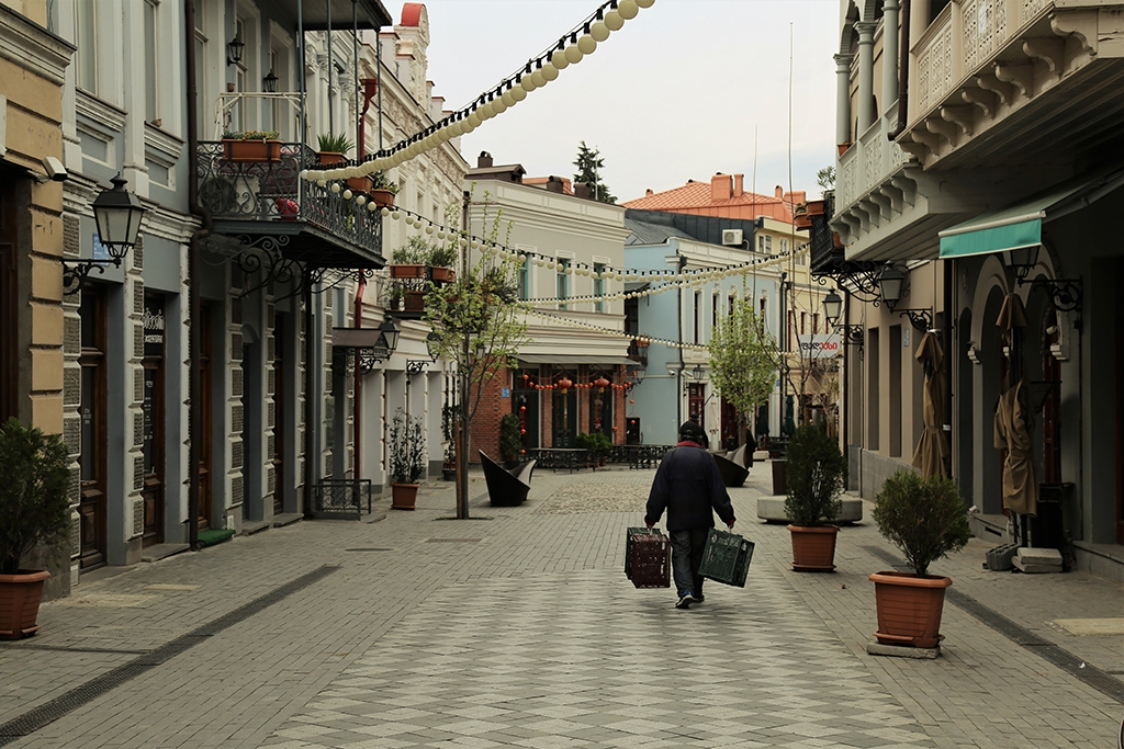 A pedestrian street in Tbilisi, usually bustling with tourists and cafes, was deserted last month. (Giorgi Lomsadze)