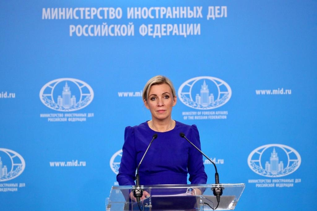 How Do You Solve a Problem Like Maria?: Zakharova addressing reporters at a press event. (Photo: Russian Foreign Ministry)