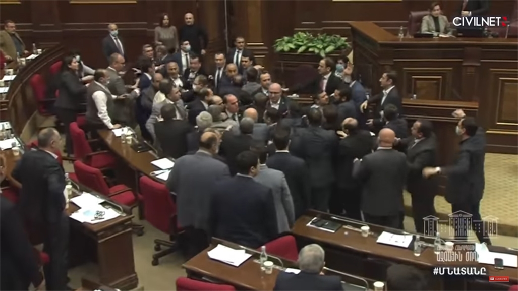 Screenshot of Armenian MPs engaging in fisticuffs on May 8.