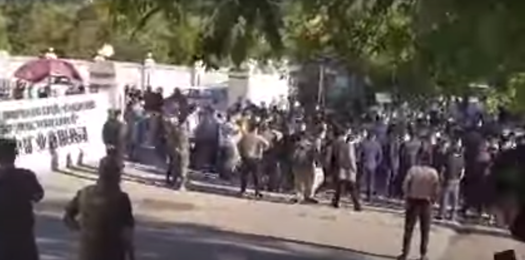 I predict a riot: A still from shaky video footage of the unrest in Taboshar.