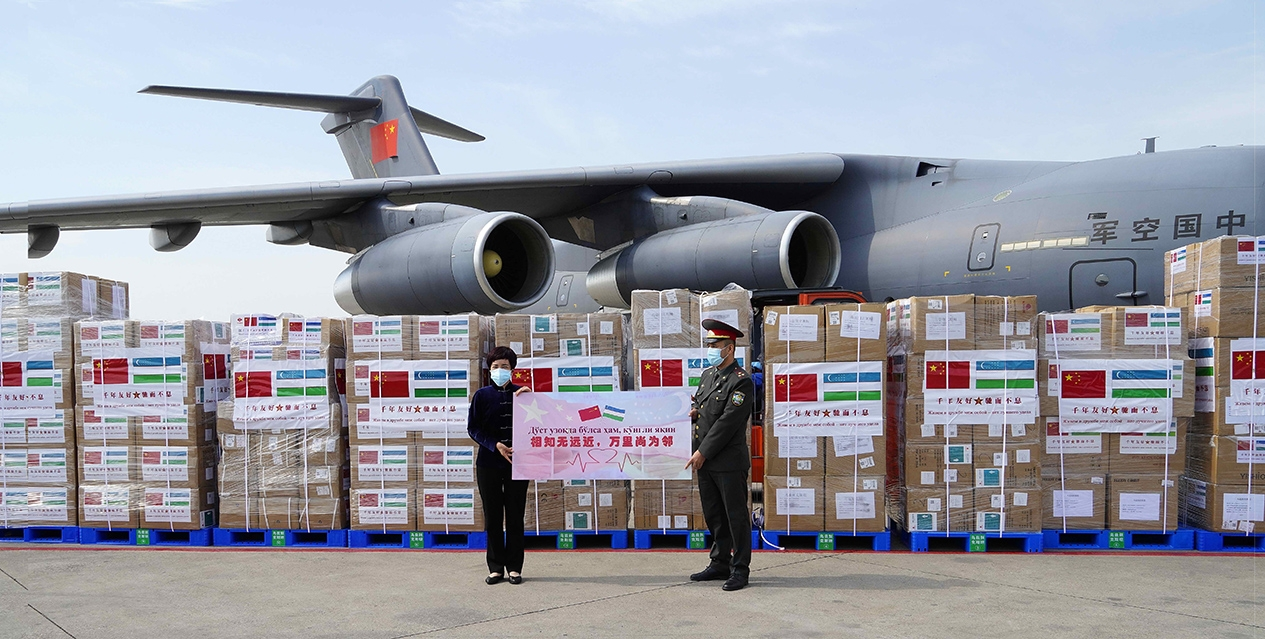 A PLA Y-20 delivering aid in Tashkent (Embassy of China)