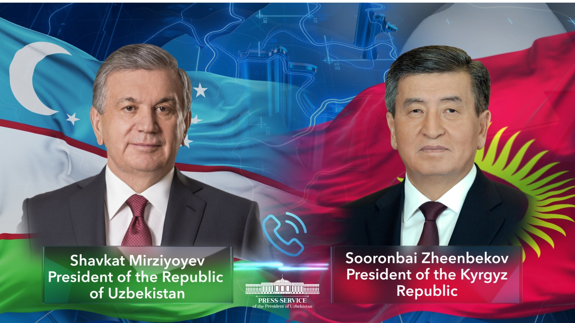 Hello, is it me you're looking for?: Mirziyoyev and Jeenbekov engaged in rapid, telephone diplomacy. (Photo: Uzbek presidential press office)