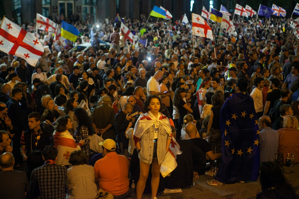 Demonstrations in Tbilisi last summer continued for weeks after the Gavrilov Night. (David Trilling)