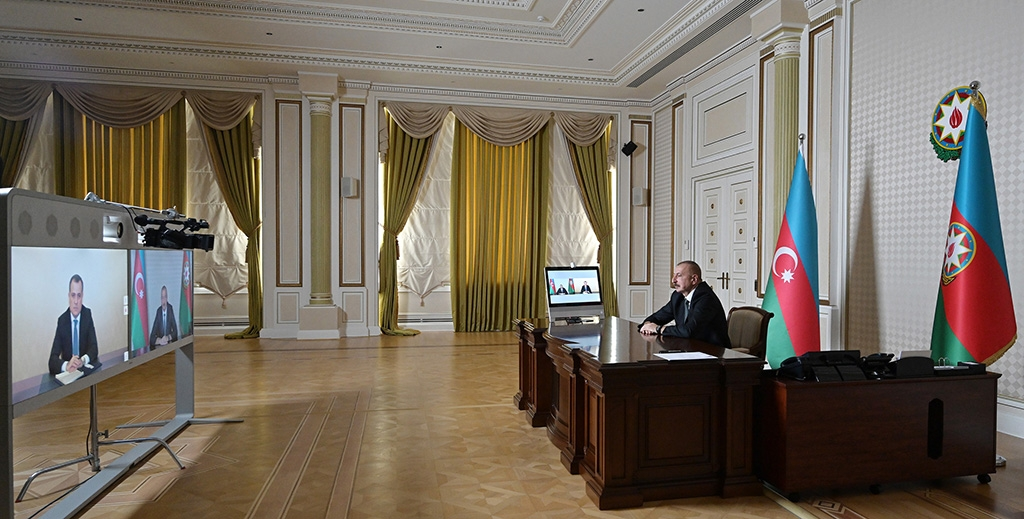 Azerbaijan President Ilham Aliyev videoconferences with his newly appointed foreign minister, Jeyhun Bayramov. (photo: president.az)
