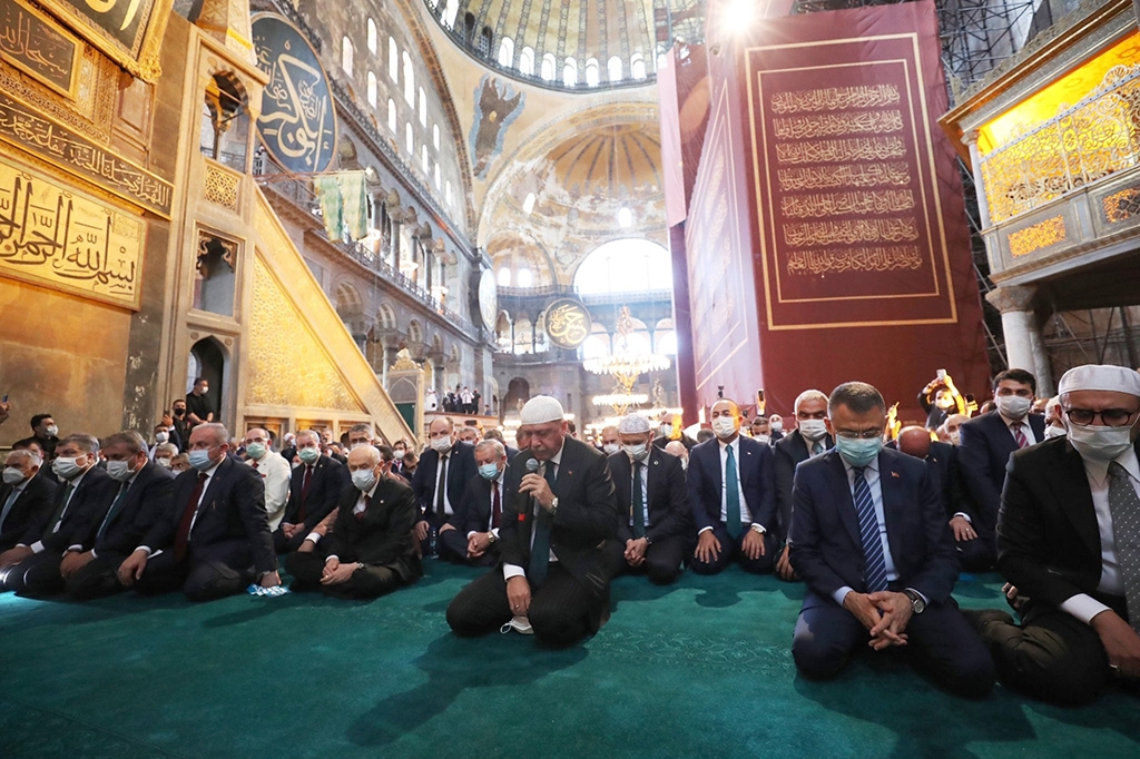 Erdogan reciting verses from the Koran before Friday prayer at the Hagia Sophia on July 24 (photo: Presidency of the Republic of Turkey)