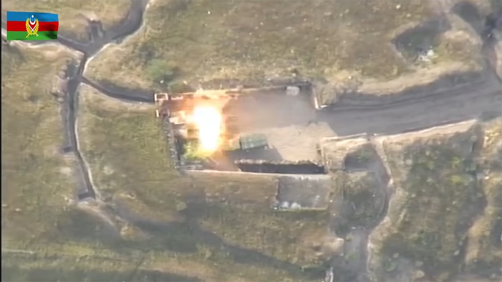 VIdeo from the Azerbaijan Defense Ministry purporting to show an attack on an Armenian position.
