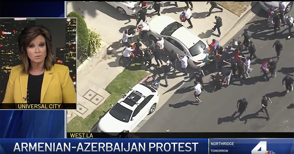 Armenians and Azerbaijanis clash outside the consulate of Azerbaijan in Los Angeles on July 21. (Screenshot from NBC News)
