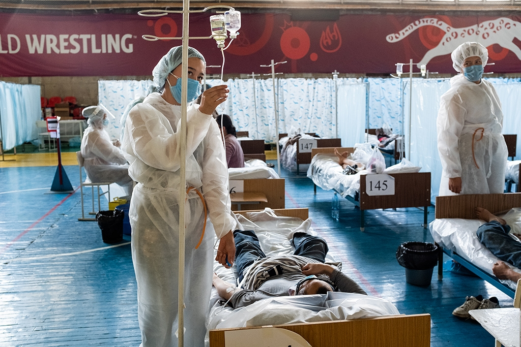 A makeshift hospital in Kyrgyzstan's capital