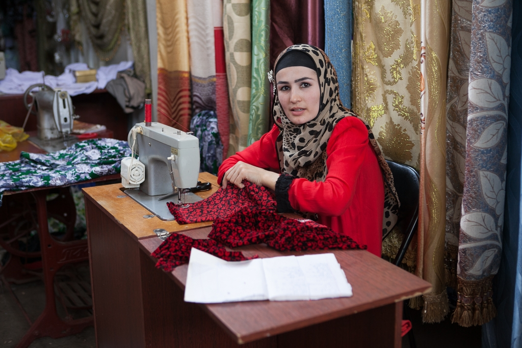 A woman sewing in a market in Hissar (photos by David Trilling)