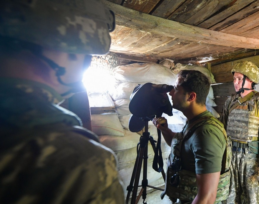 Aiming higher? President Volodymyr Zelensky on a visit to the frontline last month (government handout)