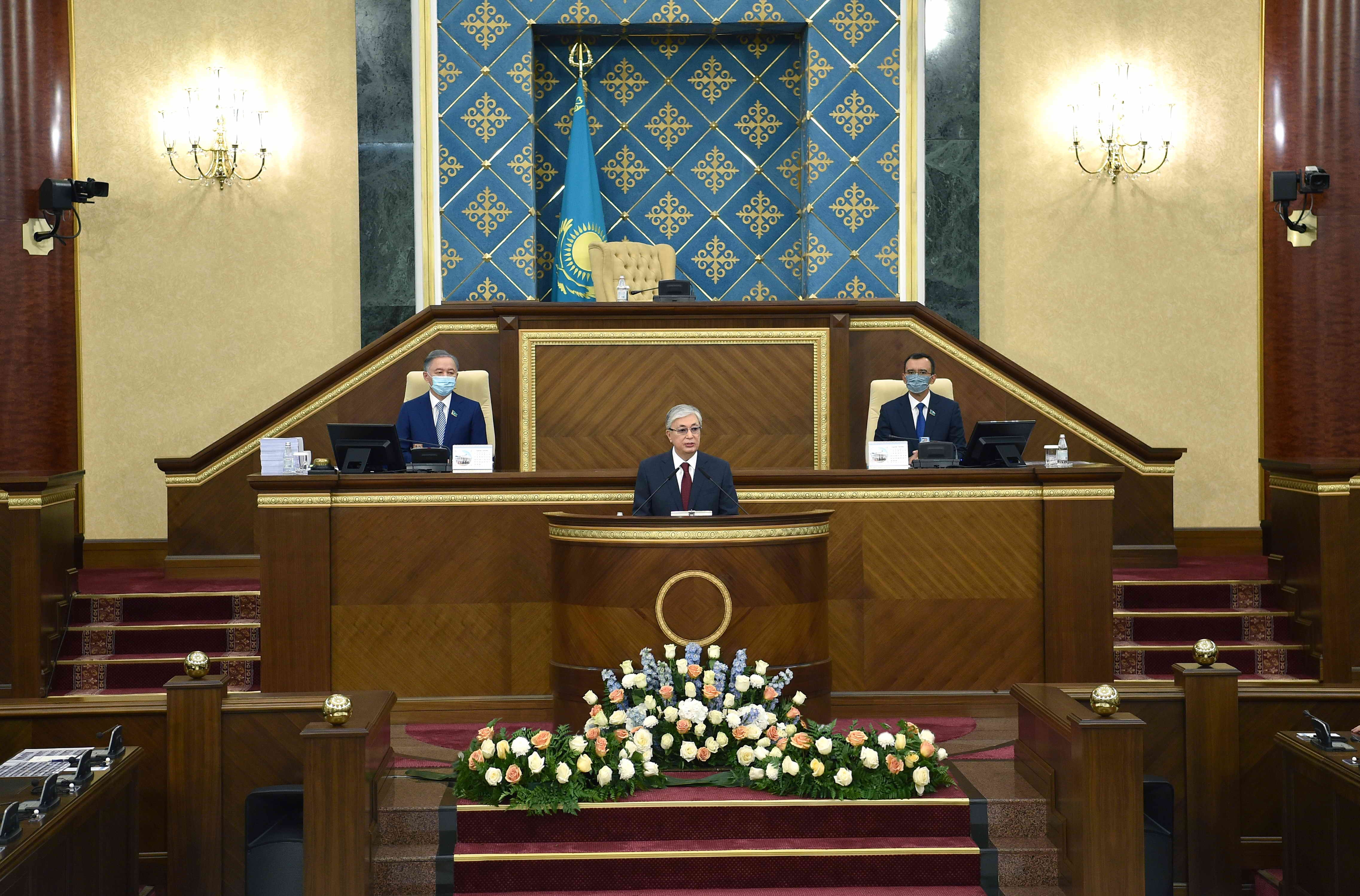 What a state: Tokayev delivering his speech this week. (Photo: Presidential press office)