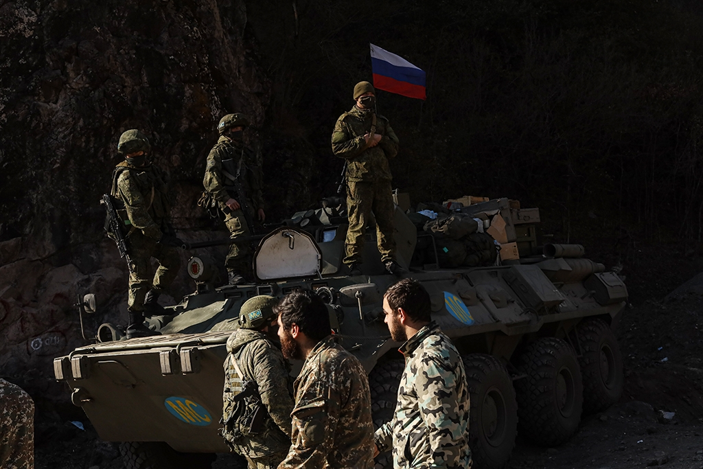 Russian peacekeepers stationed at the Dadivank Monastery. (photo: Jonathan Alpeyrie)