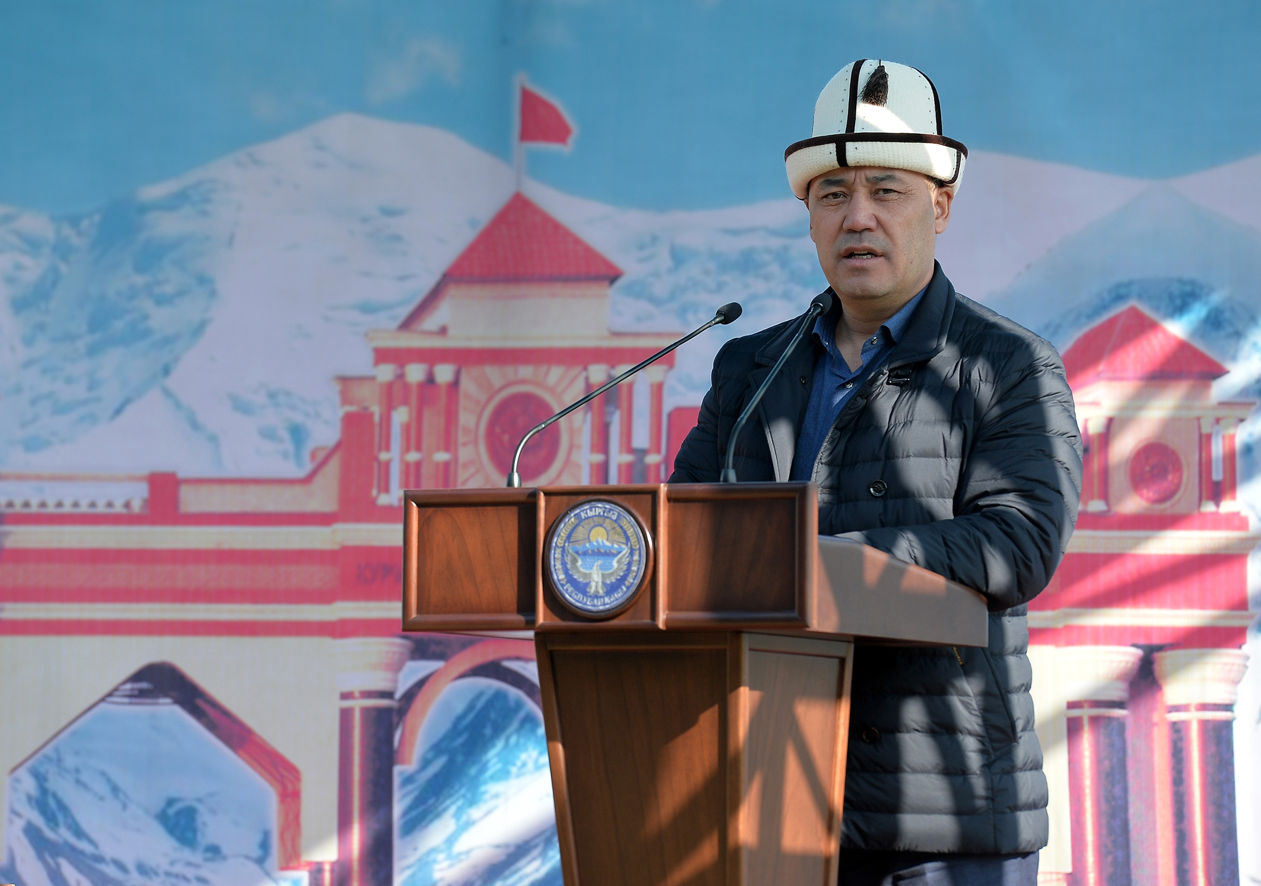 Japarov speaking in Osh. (Photo: Presidential press office)