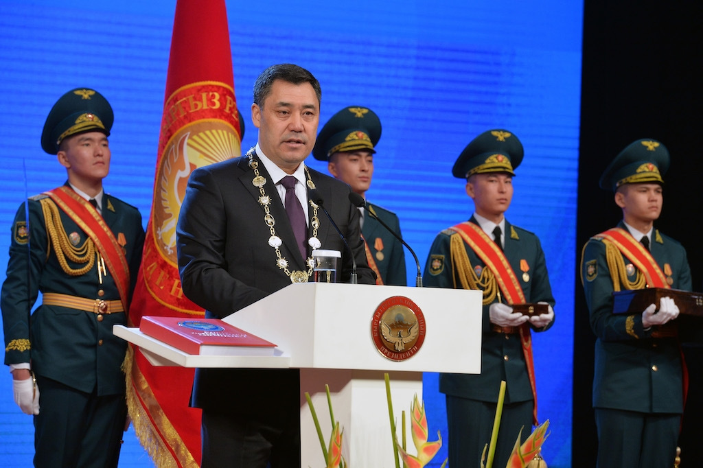 Sadyr Japarov at the inauguration ceremony. (Photo: Presidential press service)