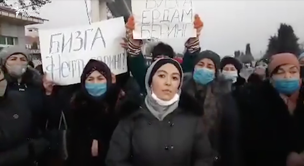 Strikers addressing the camera in footage obtained by Radio Ozodlik.