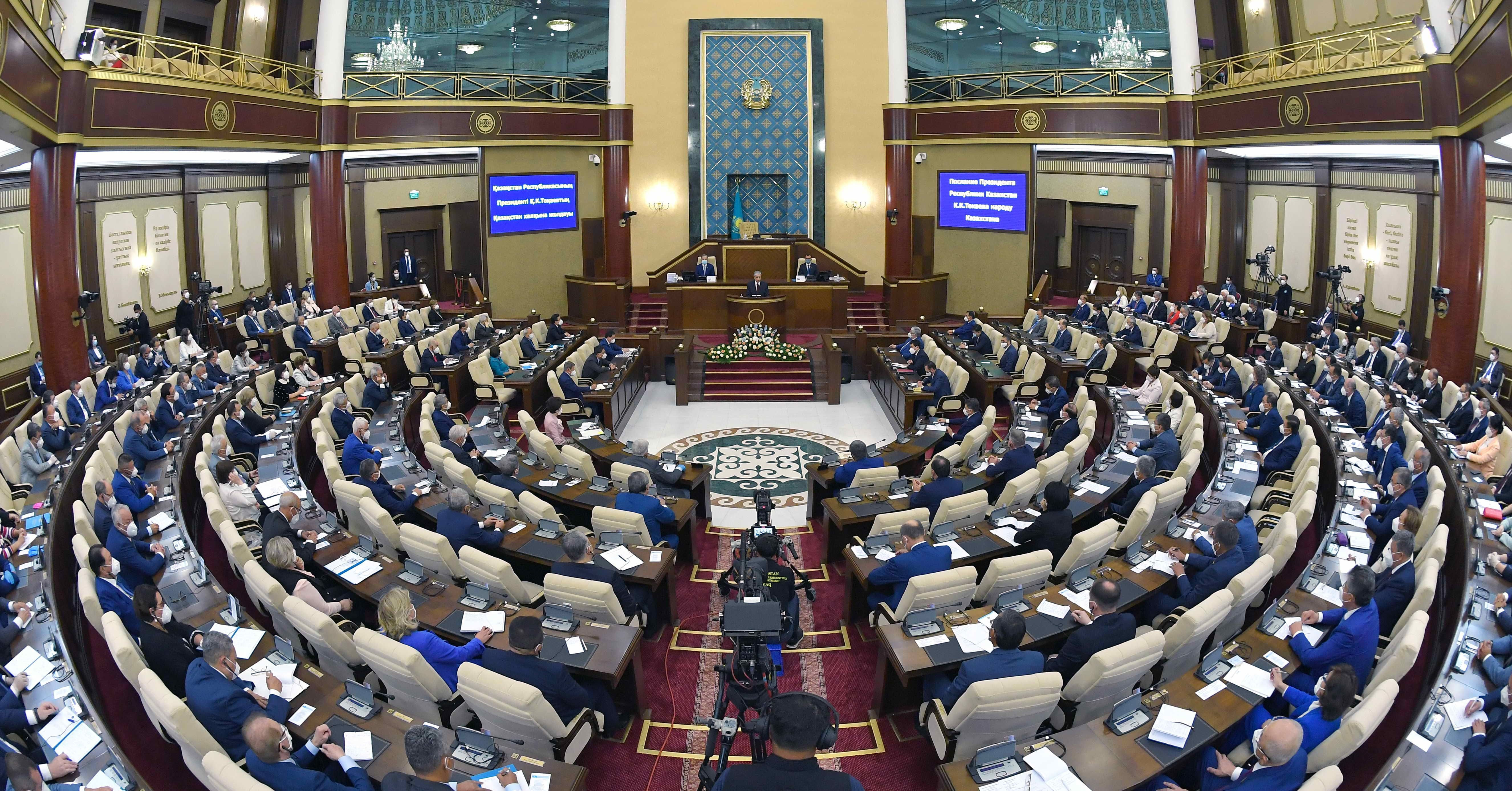Tokayev addressing lawmakers at his state of the nation speech. (Photo: Presidential administration)