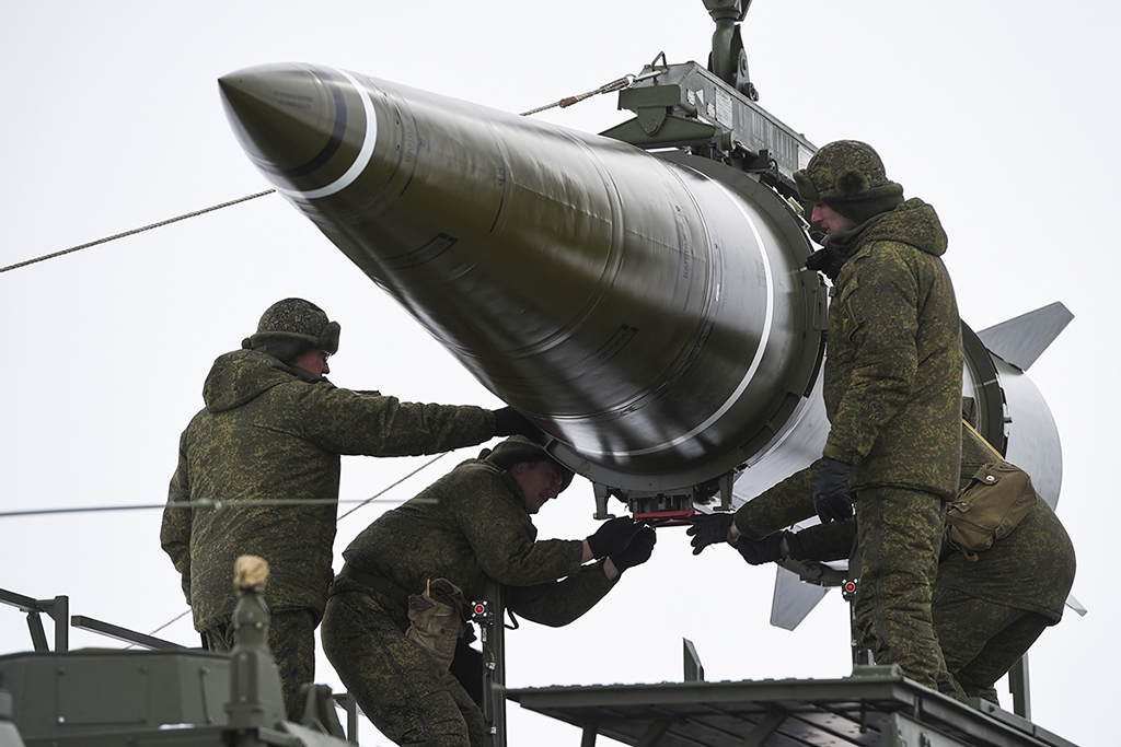 An Iskander missile in Russia in 2018. (Russian Defense Ministry)