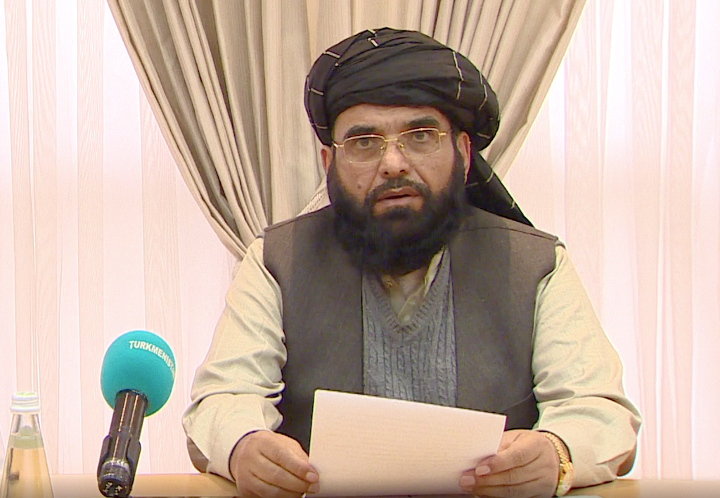 Suhail Shaheen, a member of the Taliban's Qatar-based negotiation team, speaking to reporters in Ashgabat. (Photo: Turkmen Foreign Ministry)