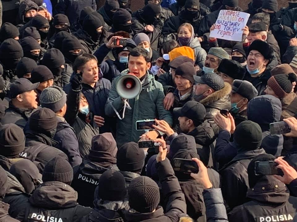 Boiling point: Almaty demonstrators trapped in a kettle. (Photo: Kazakhstan International Bureau for Human Rights)