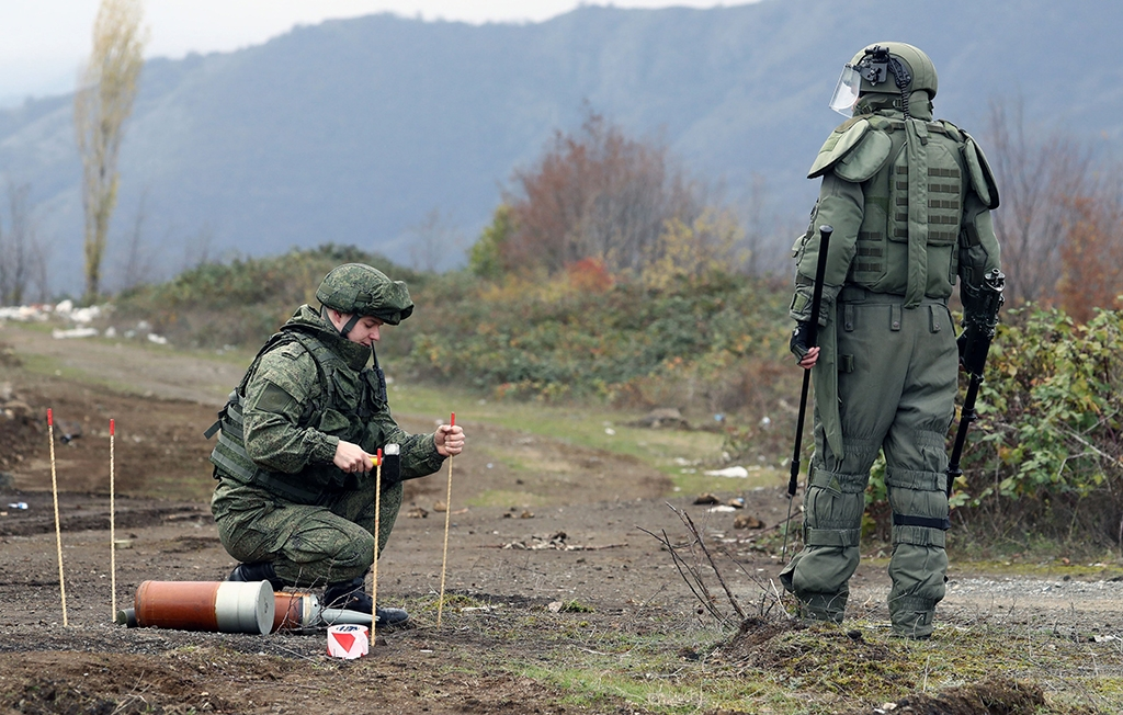 Russian peacekeepers clear mines in Nagorno-Karabakh. (Russian Defense Ministry)
