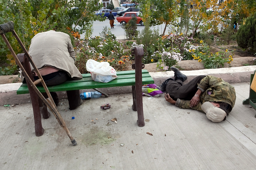 Homelessness and vagrancy are common in Turkmenbashi. Such signs of poverty would be swiftly removed from the capital Ashgabat.