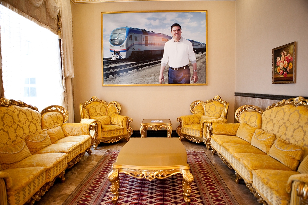 Large photographs of Berdymukhamedov grace the lobbies of every hotel at the Avaza resort.