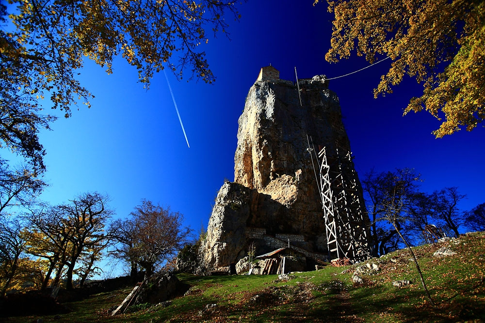 The towering Katskhi Pillar is about 10 kilometers from the mining town of Chiatura.