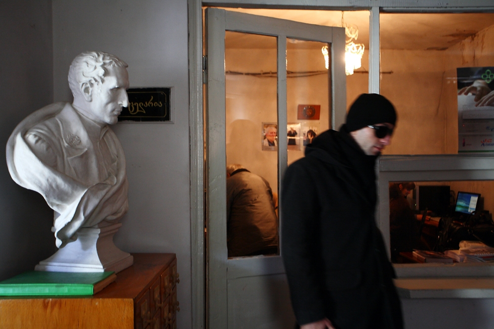 A bust of Louis Braille, creator of the tactile writing system, sits in the library for the blind in the Ponichala settlement.