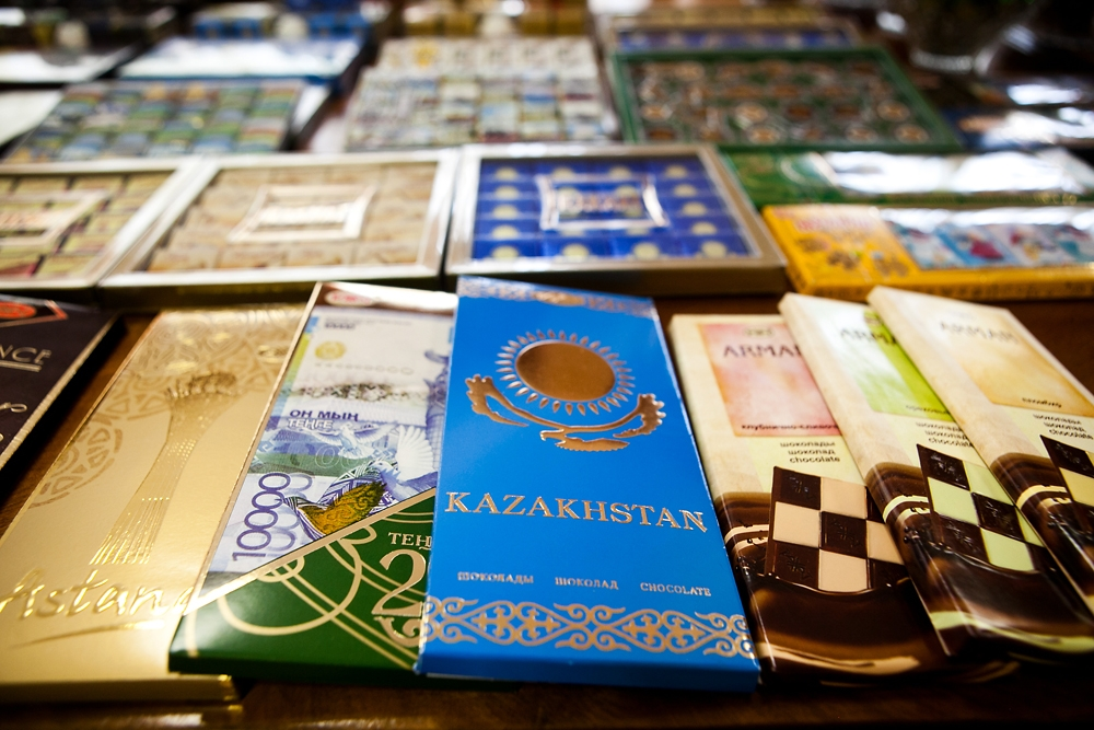 Rakhat's best known brand is called simply Kazakhstan, a slab of milk chocolate in a wrapper the color of the Kazakh flag.