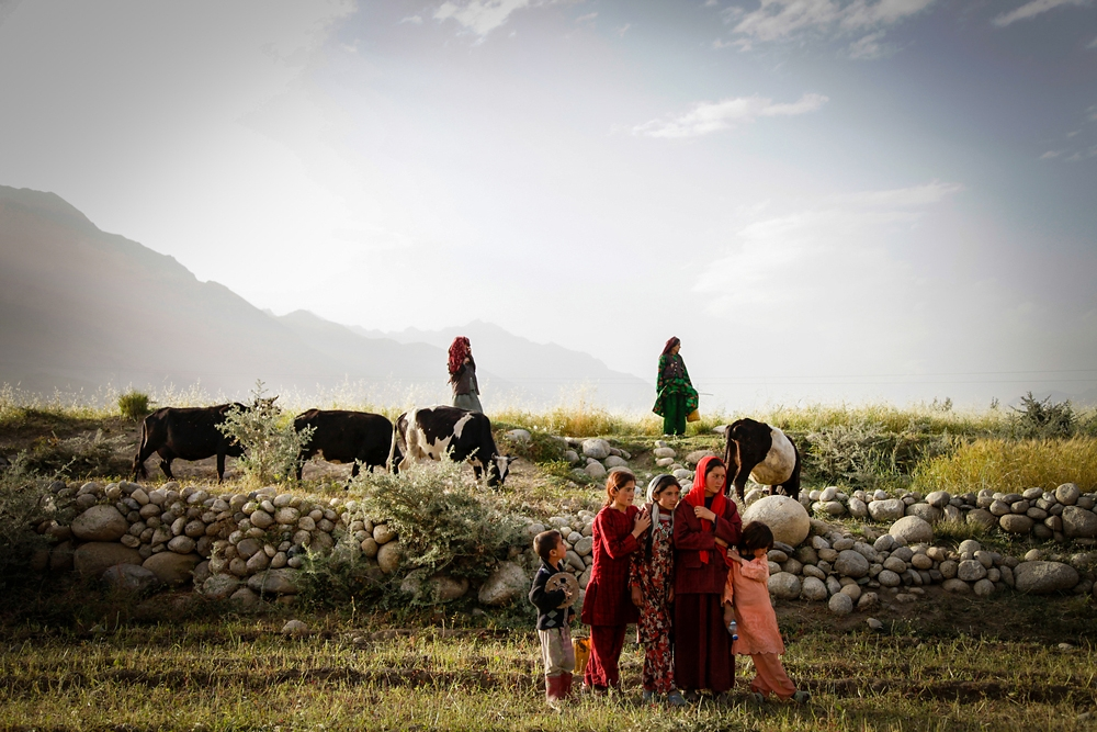 Wakhi women and children monitor their livestock near the village of Sarhad in the Wakhan corridor of northeastern Afghanistan.