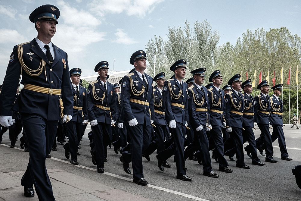 Russian Air Force troops march during a Victory Day military parade rehearsal in Bishkek on May 7.