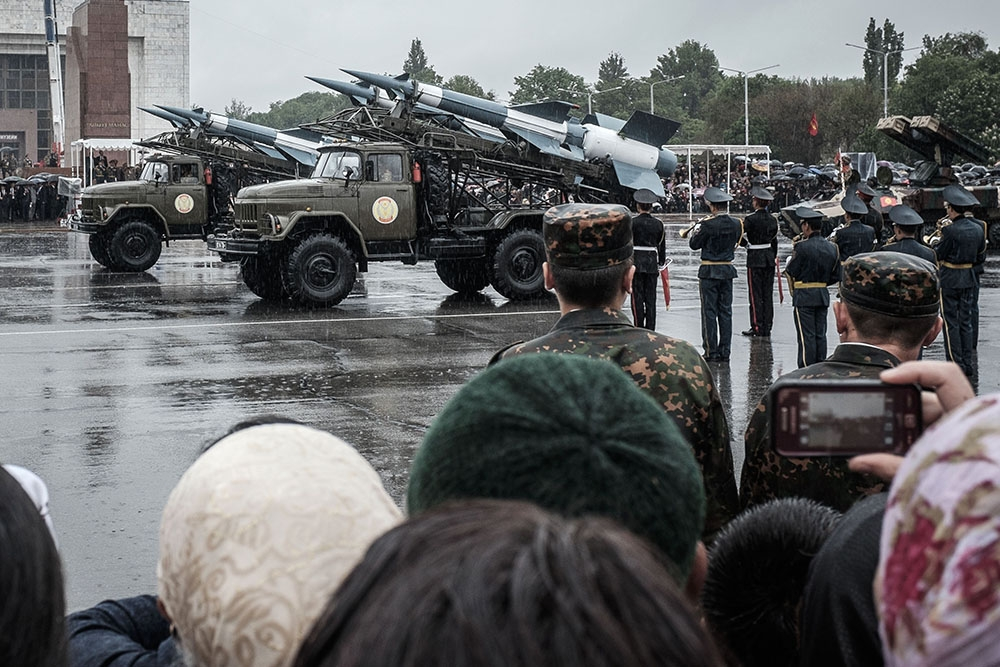 The Kyrgyz military shows off missiles, rockets, tanks, armored personnel carriers, and its soldiers.