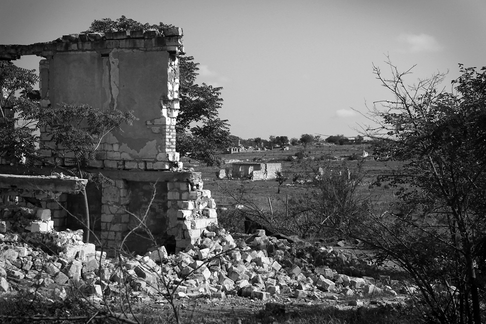 The former ethnic Azeri village of Agdam remains destroyed and deserted.