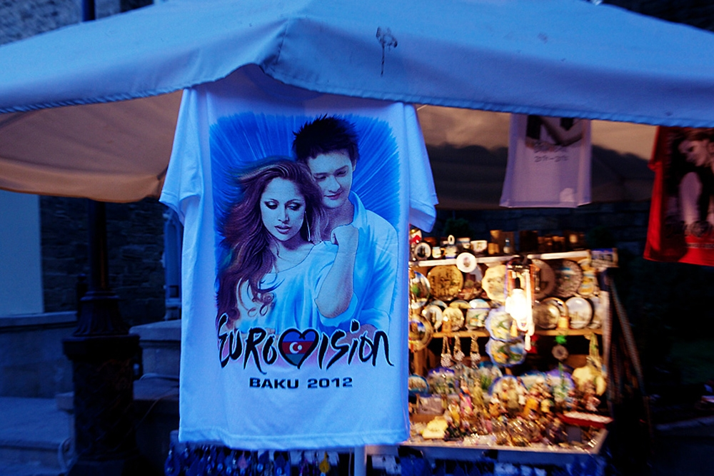 For sale at Baku's downtown market, a T-shirt is printed with pictures of Azerbaijan's 2011 Eurovision winners, Eldar and Nigar.