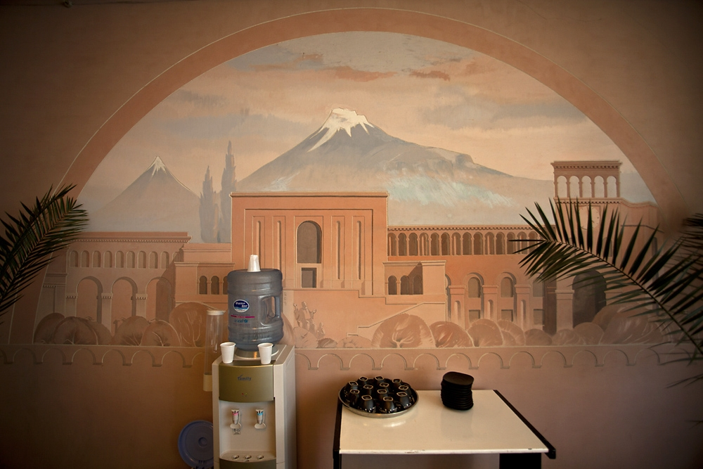 A painting of Mount Ararat decorates a wall in the plant.