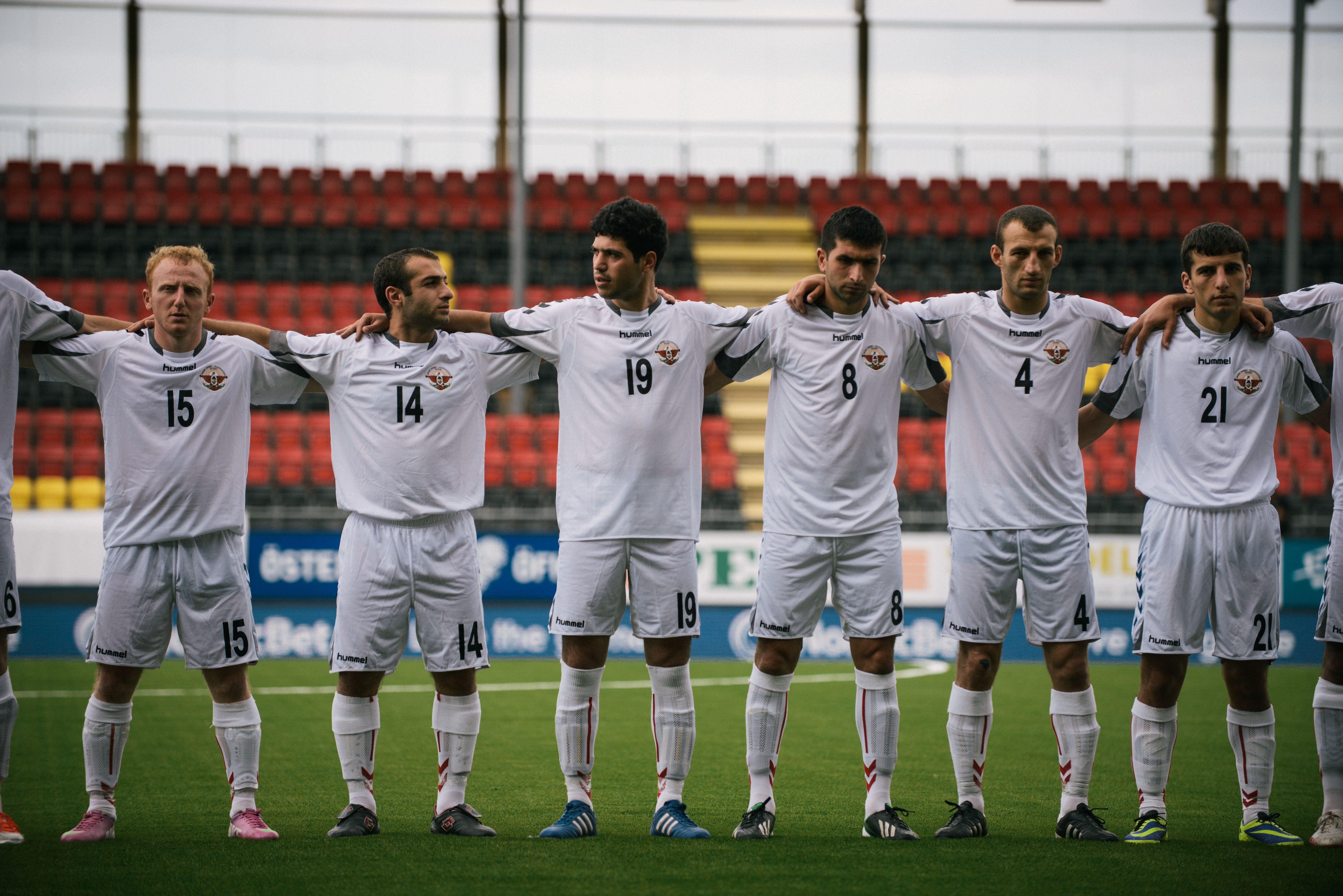 Players for the Nagorno Karabakh team line up before a placement match against Darfur United. Nagorno Karabakh won 12-0.