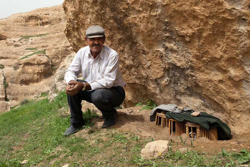 Huseyin Tekes, the birdman of Hasankeyf, walks up the surrounding hills almost daily so his birds can get some fresh air.