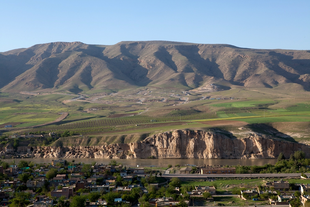 The new town of Hasankeyf is being constructed across the river and higher up the slopes of the valley.