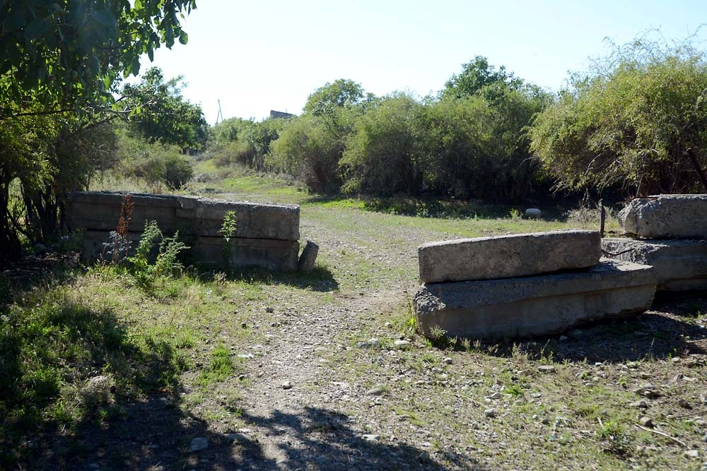 A set of concrete blocks warns locals in Khurvaleti that they are approaching the de-facto border.