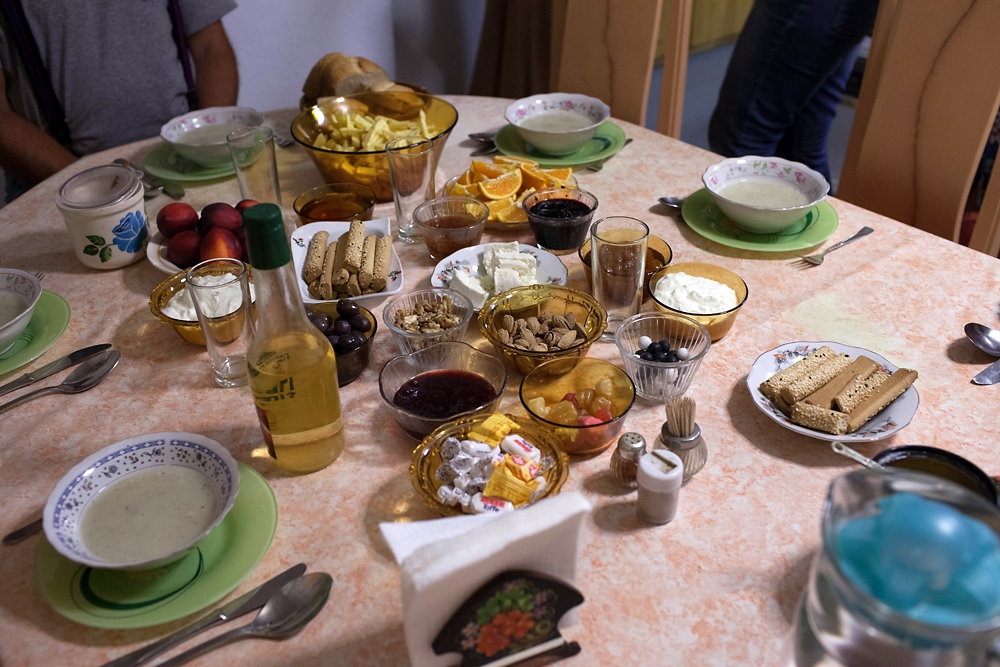 Traditional Tatar food is laid out for dinner.