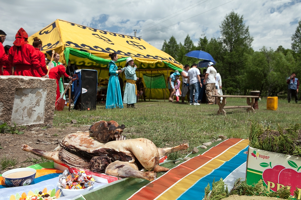 A steamed goat is laid out to ancestors at a smaller Nadaam set up by a group of shamans near Ulaanbaatar.
