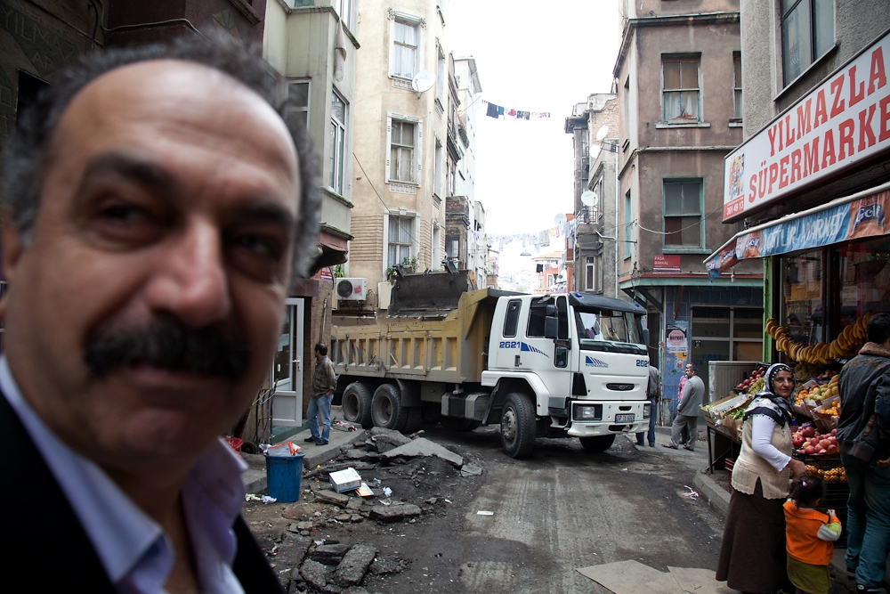 Utility upgrades leave many of the streets in Tarlabasi in disrepair.