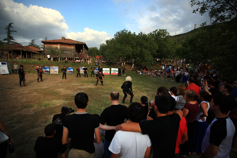 Several hundred enthusiasts watch The Black Shields perform at the Artgeni festival.