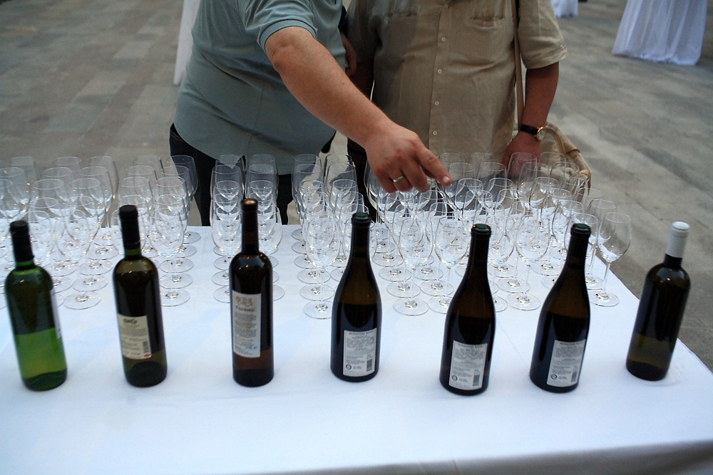 Several dozen Georgian wines are available to sample at the recent Kvevri Wine symposium.