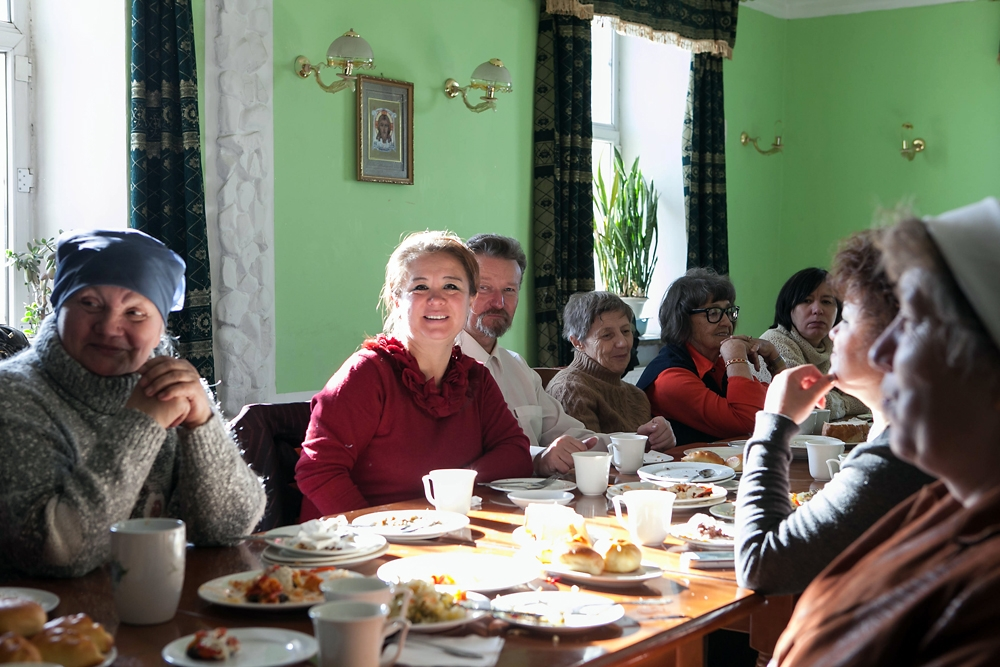 Ethnic Russians gather for the common meal following the Sunday church service.