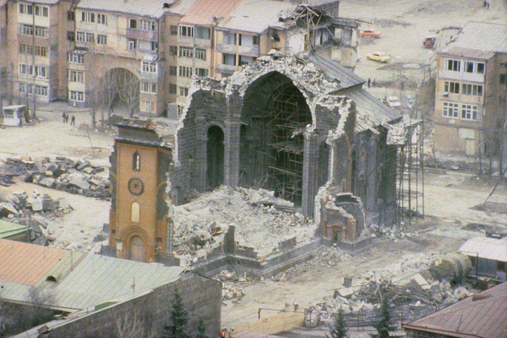 Most of the Holy Savior Church in Leninakan (now Gyumri) turned to rubble.